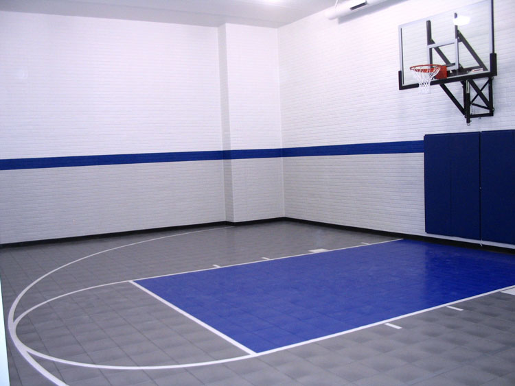 Vinyl tiles basketball courts built in your backyard free for Indoor basketball court installation