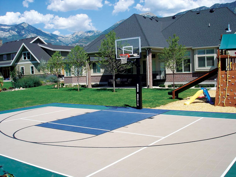 Vinyl tiles basketball courts built in your backyard free Indoor half court basketball cost